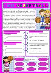 English Worksheet: I love basketball