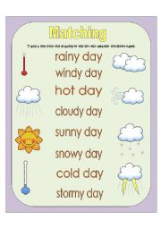 English Worksheet: Weather Conditions - Matching