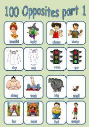English Worksheet: 100 OPPOSITES PART 1 OF 7