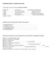 English worksheet: Present continuous exercises