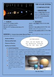 English Worksheet: COMPARATIVES - the Solar System