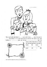 English Worksheets: Information gap activity - family
