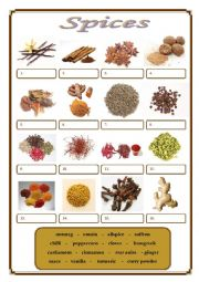 English Worksheet: Spices