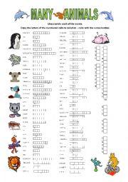 English Worksheets: 72 animals (+ short key)