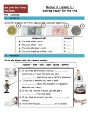 English Worksheet: getting ready for the trip