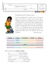 English worksheet: Evaluation Test