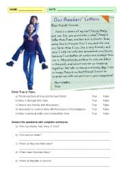 English Worksheet: Comparative reading comprehension
