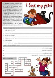 English Worksheet: I love my pets!