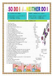 English Worksheets: SO DO I                   -               NEITHER DO I