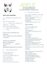 English Worksheets: Adele Live at Royal Alber Hall