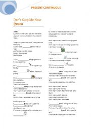 English Worksheet:  Present Continuous song