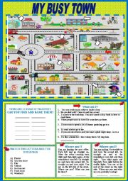 English Worksheets: My busy town