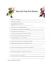 English Worksheets: Interview Your Partner