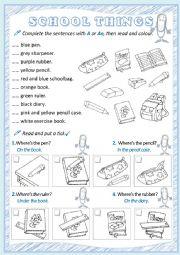 English Worksheet: School things