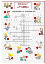English Worksheets: Everyday Activities (Daily Routine Crossword)