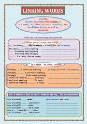 English Worksheet: Linking words Exercises
