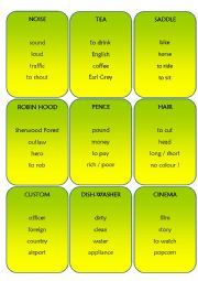 English Worksheets: TABOO Game Part 1