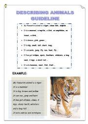 English Worksheet: DESCRIBING ANIMALS GUIDELINE - MY FAVOURITE ANIMAL