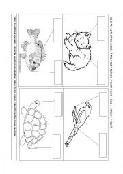 English Worksheets: Label parts of the animals.