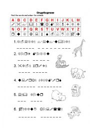 English Worksheet: Animal cryptogram