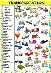 English Worksheet: TRANSPORTATION  (KEY AND B&W VERSION INCLUDED)