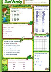 English Worksheet: Word Games