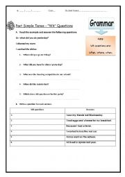 English worksheet: past tense, wh questions