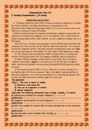 English Worksheet: comprehensive test No2 1st form