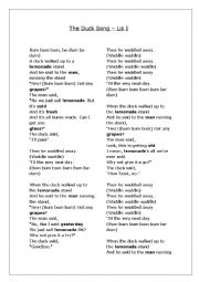 English worksheet: The duck song