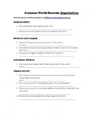 English Worksheet: Guinness World Records - Superlatives
