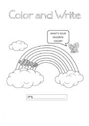 English Worksheet: Color the rainbow