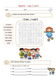English Worksheet: Sports - Verb can,cqan�t
