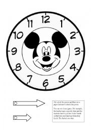 English Worksheet: Mickey Clock Game