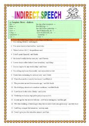 English Worksheet: INDIRECT/REPORTED SPEECH 1- practice- 2 pages