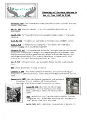 English Worksheet: Civil rights timeline