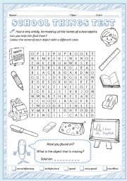 School objects test - ESL worksheet by chiaretta