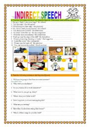 English Worksheet: INDIRECT/REPORTED SPEECH 2 - PRACTICE, 2 pages