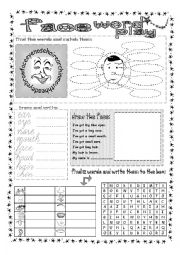 English Worksheets: Face Word Play