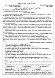 English Worksheet: third term exam:3rd exp.sc/maths/Life on Other Planets
