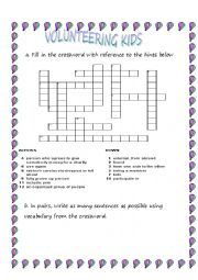 English Worksheet: Volunteering Kids