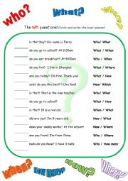 English Worksheets: The Wh questions