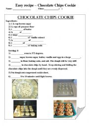 English teaching worksheets recipes english worksheets chocolate chips cookie recipe forumfinder Choice Image