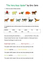 english worksheets the very busy spider by eric carle