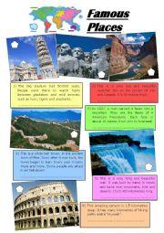 English Worksheet: Famous places and landmarks