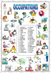 English Worksheets: OCCUPATIONS (KEY AND B&W VERSION INCLUDED)