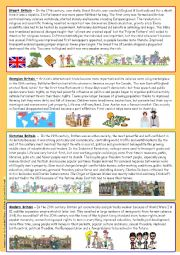 English Worksheets: Short history of Britain Part 1 (reuploaded) - editable