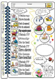 English Worksheets: Daily routine_WS