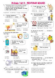 English Worksheets: 8th grades Precationary Measures & so that & in case