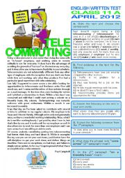 English Worksheet: TELECOMMUTING (TEST - 11th grade) key included
