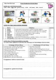 English Worksheet: Group Session: Pocket Money
